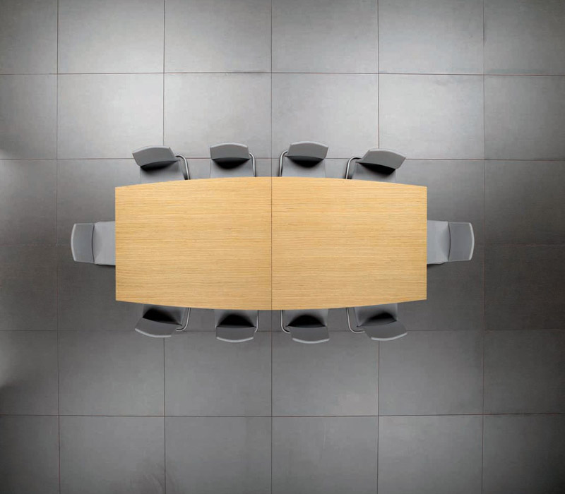 Mesa de reuniones con forma de tonel
