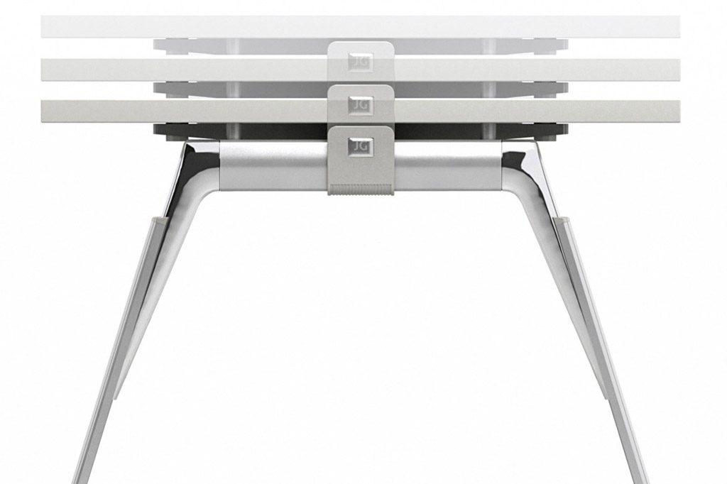 Todas las mesas del sistema Inspira son regulables en altura.